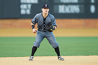 Cincinnati Bearcats third baseman Ryan Quinn (30) on defense against the Wake Forest Demon Deacons at Wake Forest Baseball Park on February 21, 2014 in Winston-Salem, North Carolina.  The Bearcats defeated the Demon Deacons 5-0.  (Brian Westerholt/Four Seam Images)