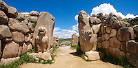 Photo of the Hittite releif sculpture on the Lion gate to the Hittite capital Hattusa 2