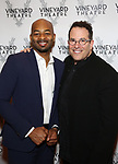 Brandon Victor Dixon and Michael Mayer attends the Vineyard Theatre Gala 2018 honoring Michael Mayer at the Edison Ballroom on May 14, 2018 in New York City.