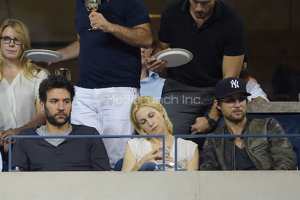 FLUSHING NY- AUGUST 30:  Josh Radnor and Kelly Rutherford are seen watching Eugenie Bouchard Vs Barbora Zahiavova Strycova on Arthur Ashe stadium at the USTA Billie Jean King National Tennis Center on August 30, 2014 in Flushing Queens. Credit: mpi04/MediaPunch