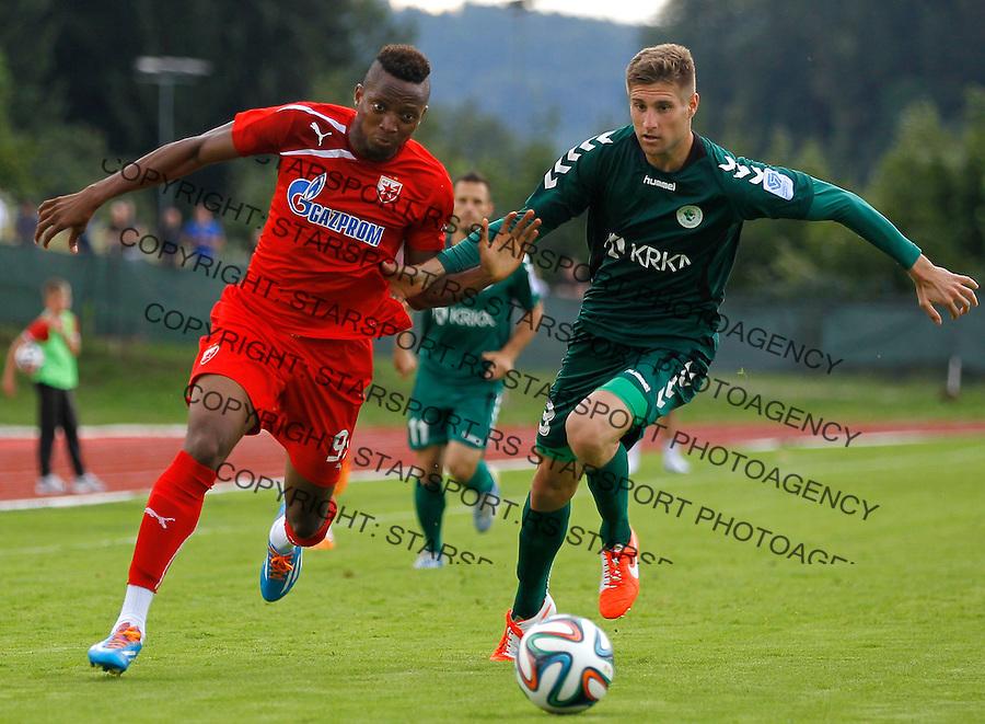 Fudbal season 2013-2014<br /> FK Crvena Zvezda pripreme<br /> Crvena Zvezda v Krka<br /> Ifeanyi Onyilo (L)<br /> Novo Mesto, 07.12.2014.<br /> foto: Srdjan Stevanovic/Starsportphoto &copy;