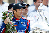 Verizon IndyCar Series<br /> Indianapolis 500 Winner Portrait<br /> Indianapolis Motor Speedway, Indianapolis, IN USA<br /> Monday 29 May 2017<br /> Winner Takuma Sato, Andretti Autosport Honda and Michael Andretti <br /> World Copyright: Michael L. Levitt<br /> LAT Images