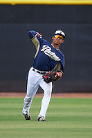 San Diego Padres Aldemar Burgos (12) during warmups before an instructional league game against the Milwaukee Brewers on October 6, 2015 at the Peoria Sports Complex in Peoria, Arizona.  (Mike Janes/Four Seam Images)