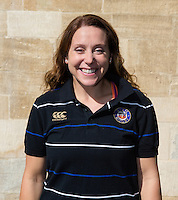Rugby Operations and Player Welfare Manager Sophie Bennett poses for a portrait at a Bath Rugby photocall. Bath Rugby Media Day on September 8, 2015 at Farleigh House in Bath, England. Photo by: Rogan Thomson for Onside Images