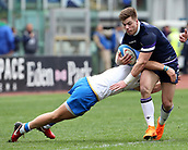 17th March 2018, Stadio Olimpico, Rome, Italy; NatWest Six Nations rugby, Italy versus Scotland; Huw Jones of Scotland is challenged by Giulio Bisegni of Italy
