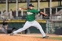 Savannah Sand Gnats relief pitcher Dawrin Frias (32) in action against the Hickory Crawdads at L.P. Frans Stadium on June 14, 2015 in Hickory, North Carolina.  The Crawdads defeated the Sand Gnats 8-1.  (Brian Westerholt/Four Seam Images)