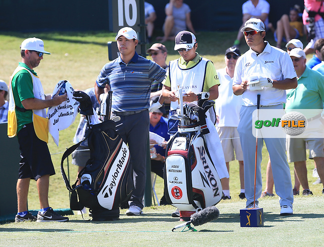 Si Woo Kim (KOR) Hideki Matsuyama (JPN)  during the Third Round of The Players, TPC Sawgrass, Ponte Vedra Beach, Jacksonville.   Florida, USA. 14/05/2016.<br /> Picture: Golffile | Mark Davison<br /> <br /> <br /> All photo usage must carry mandatory copyright credit (&copy; Golffile | Mark Davison)