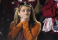 Jan 7, 2010; Pasadena, CA, USA; Fans of the Texas Longhorns react during the fourth quarter of the 2010 BCS national championship game against the Alabama Crimson Tide at the Rose Bowl.  Mandatory Credit: Mark J. Rebilas-
