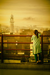 Little girl standing on the bridge Pakistan