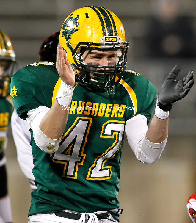 East Hartford, CT-09 December 2011-120911CM05-  Holy Cross' Nick Gambacini reacts to a play during the first quarter of the Class S Finals against Cromwell High School at Rentschler Field in East Hartford Friday night.  Christopher Massa Republican-American