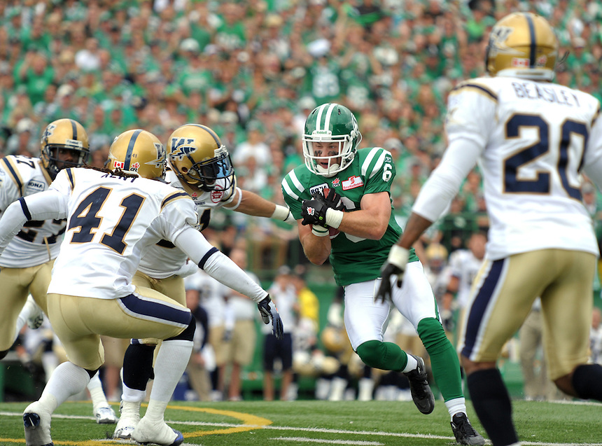 Saskatchewan Roughriders wide receiver Rob Bagg finds an opening against the Winnipeg Blue Bombers during CFL action in Regina. THE CANADIAN PRESS/Mark Taylor.