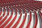 Rows of seats at the Jay Pritzker Pavilion, Millennium Park, Chicago, Illinois, designed by National Medal of Art winner Frank Gehry.