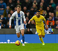 Brighton &amp; Hove Albion's Solly March (left) under pressure from Chelsea's Pedro (right) <br /> <br /> Photographer David Horton/CameraSport<br /> <br /> The Premier League - Brighton and Hove Albion v Chelsea - Sunday 16th December 2018 - The Amex Stadium - Brighton<br /> <br /> World Copyright &copy; 2018 CameraSport. All rights reserved. 43 Linden Ave. Countesthorpe. Leicester. England. LE8 5PG - Tel: +44 (0) 116 277 4147 - admin@camerasport.com - www.camerasport.com