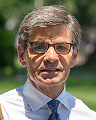 ABC News Chief Anchor George Stephanopoulos walks from doing a stand-up on the North Driveway of the White House in Washington, DC on Wednesday, June 12, 2019. Stephanopoulos was at the White House for an exclusive series of interviews with United States President Donald J. Trump who said his campaign would accept information from foreigners -- such as China or Russia.<br /> Credit: Ron Sachs / CNP