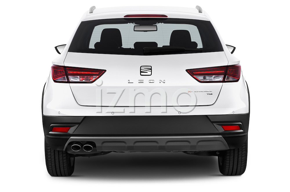 Straight rear view of a 2015 Seat Leon Style Copa 4 Door Hatchback Rear View  stock images