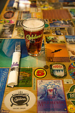 USA, Oregon, Ashland, table detail with a hibiscus ginger beer at the Caldera Brewery and Restaurant