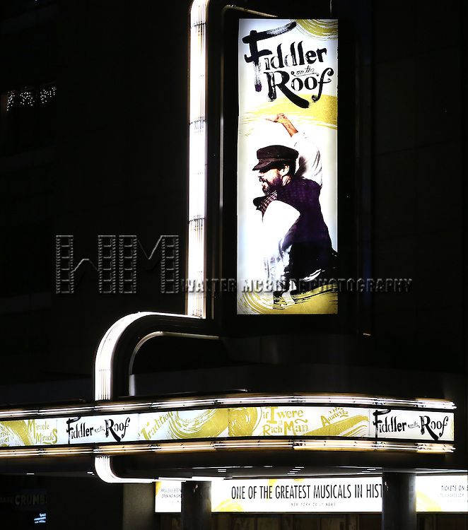 Theatre Marquee for the Broadway Opening Night Performance Curtain Call bows for 'Fiddler On The Roof'  at the Broadway Theatre on December 20, 2015 in New York City.