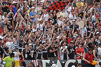 DC United Barra Brava fans cheer for the team after the second goal in the 72th minute. DC United defeated the New York Red Bulls, 4-2, at RFK Stadium in Washington DC, Sunday, June 10 , 2007.