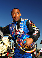 Jul. 26, 2009; Sonoma, CA, USA; NHRA top fuel dragster driver Antron Brown after winning the Fram Autolite Nationals at Infineon Raceway. The win was the third win in a row for Brown. Mandatory Credit: Mark J. Rebilas-