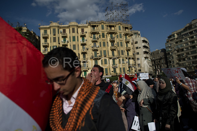 "Remi OCHLIK/IP3 -  Cairo on january 31 - Tens of thousands of people in Egypt are taking part in a seventh day of protests calling for the country's leader to step down. Crowds have been growing in Cairo's Tahrir Square and in other cities, with many shouting slogans and waving placards calling for Hosni Mubarak's downfall. Far greater numbers are expected to hit the streets tomorrow for a mass rally billed as the ""protest of the millions"".There have been some reports of 25,000 people in Tahrir Square but the realistic estimate is between 10,000 and 15,000."