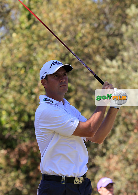 David Howell (ENG) on the 18th tee during Round 3 of the Open de Espana  in Club de Golf el Prat, Barcelona on Saturday 16th May 2015.<br /> Picture:  Thos Caffrey / www.golffile.ie