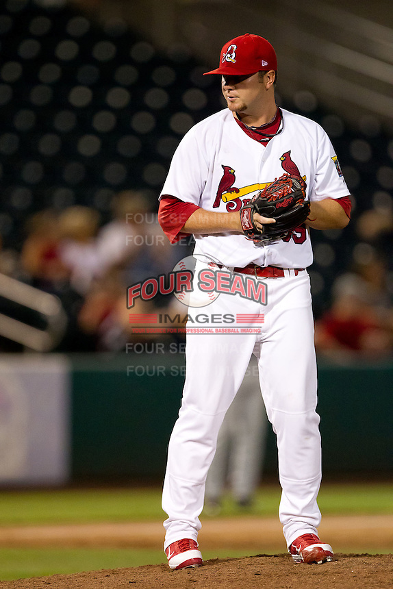 Daniel Calhoun (39) of the Springfield Cardinals on the mound during a game against the Tulsa Drillers at Hammons Field on July 18, 2011 in Springfield, Missouri. Tulsa defeated Springfield 13-8. (David Welker / Four Seam Images)