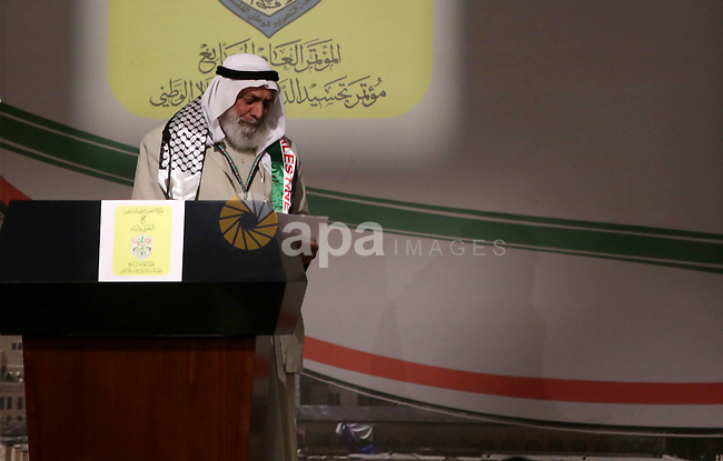 Senior Hamas official, Ahmed Haj Ali attends the opening ceremony of the 7th Fatah Congress on November 29, 2016, at the Muqataa, the Palestinian Authority headquarters, in the West Bank city of Ramallah. Abbas's Fatah re-elected him party head as the movement opened its first congress since 2009 with talk mounting of who will eventually succeed the 81-year-old. Photo by Shadi Hatem