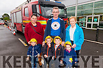 Front l-r Olek Brzezinski, Dylan, Ryan and Cara O'Sullivan, Back l-r Magda Brzezinska, Michael and Ett O'Sullivan all from Killarney at the Live Demonstration by Kerry Fire and Rescue Service at Deerpark Shopping Centre Killarney. Demonstration took place to highlight National Fire Safety Week.