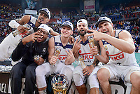 Real Madrid's Dontaye Draper, Trey Thompkins Luka Doncic, Jeffery Taylor and Jonas Maciulis during Quarter Finals match of 2017 King's Cup at Fernando Buesa Arena in Vitoria, Spain. February 19, 2017. (ALTERPHOTOS/BorjaB.Hojas)