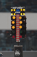 Sept. 17, 2010; Concord, NC, USA; Detailed view of the NHRA starting light system also referred to as the christmas tree during qualifying for the O'Reilly Auto Parts NHRA Nationals at zMax Dragway. Mandatory Credit: Mark J. Rebilas/