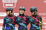 Canyon-Sram Racing team riders at sign on before the start of the Ladies 2017 Strade Bianche running 127km from Siena to Siena, Tuscany, Italy 4th March 2017.<br /> Picture: Eoin Clarke | Newsfile<br /> <br /> <br /> All photos usage must carry mandatory copyright credit (&copy; Newsfile | Eoin Clarke)