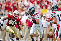 September 04, 2010:   Samford Bulldogs wide receiver Jeff Ogren (81) run after receiving a pass during first half action between the Florida State Seminoles and the Samford Bulldogs at Doak Campbell Stadium in Tallahassee, Florida.  Florida State defeated Samford 59-6.