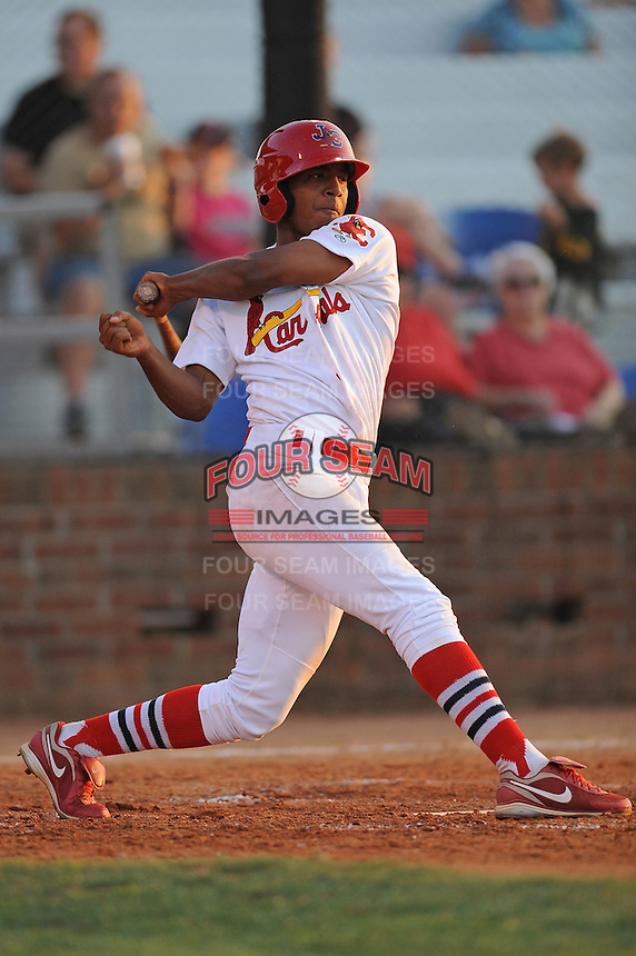 Johnson City Cardinals Oscar Taveras at Howard Johnson Field in Johnson City, Tennessee July 6, 2010.   Johnson City won the game 6-5.  Photo By Tony Farlow/Four Seam Images
