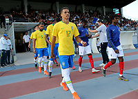 Pedrinho of Corinthians and Brazil proudly walks onto the pitch ahead of kick-off during France Under-18 vs Brazil Under-20, Tournoi Maurice Revello Football at Stade d'Honneur Marcel Roustan on 5th June 2019