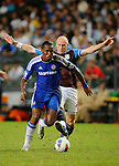 SO KON PO, HONG KONG - JULY 30: Didier Drogba of Chelsea and James Collins of Aston Villa fight for the ball during the Asia Trophy Final match at the Hong Kong Stadium on July 30, 2011 in So Kon Po, Hong Kong.  Photo by Victor Fraile / The Power of Sport Images