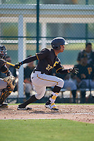 Pittsburgh Pirates center fielder Michael de la Cruz (37) follows through on a swing during a minor league Extended Spring Training intrasquad game on April 1, 2017 at Pirate City in Bradenton, Florida.  (Mike Janes/Four Seam Images)