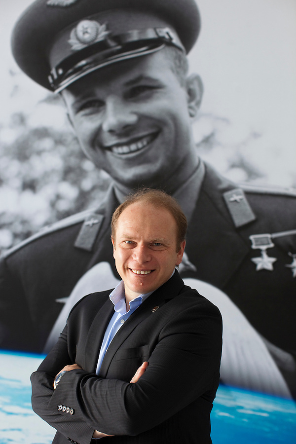 Star City, Moscow, Russia, 17/06/2011..Oleg Kotov, the 100th cosmonaut in space, at the Star City training complex in front of a photograph of Yuri Gagarin, the first human being in space.