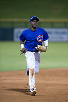 AZL Cubs center fielder Chris Singleton (16) jogs off the field between innings of a game against the AZL Giants on July 17, 2017 at Sloan Park in Mesa, Arizona. AZL Giants defeated the AZL Cubs 12-7. (Zachary Lucy/Four Seam Images)