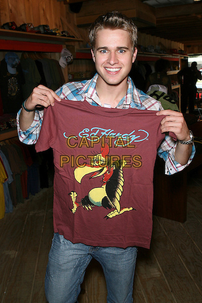 "RANDY WAYNE.""Jake Coco & The Ones To Watch 2006"" Rocking Ed Hardy held at the Ed Hardy Store, Los Angeles, California, USA..May 2nd, 2006.Photo: Zach Lipp/AdMedia/Capital Pictures.Ref: ZL/ADM.half length tee shirt print burgundy.www.capitalpictures.com.sales@capitalpictures.com.© Capital Pictures."