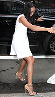 NEW YORK, NY - AUGUST 8: Rachel Lindsay seen after an appearance on Good Morning America in NewYork City on August 8, 2017. <br /> CAP/MPI/RW<br /> &copy;RW/MPI/Capital Pictures