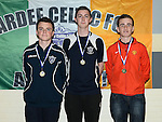 Ardee Celtic goalkeepers David Anderson, Ross McQuillan and Dylan Sheridan at the club awards held in Ardee Parish Centre. Photo:Colin Bell/pressphotos.ie