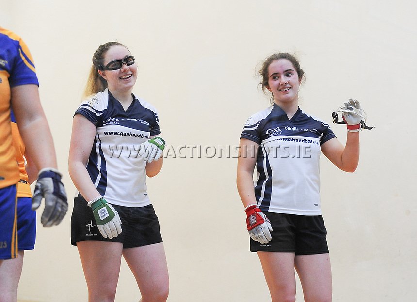 07/04/2018; GAA Handball O&rsquo;Neills 40x20 Championship Final Girls Minor Doubles Clare (Catriona Millane/Bridin Dinan) v Kildare (Leah Doyle/Molly Dagg); Kingscourt, Co Cavan;<br /> Leah Doyle and Molly Dagg after winning the match.<br /> Photo Credit: actionshots.ie/Tommy Grealy