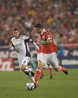 SL Benfica midfielder Filipe Menezes (24) on the attack. SL Benfica  defeated New England Revolution, 4-0, at Gillette Stadium on May 19, 2010.