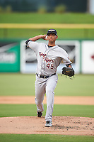 Lakeland Flying Tigers starting pitcher Endrys Briceno (45) during a game against the Clearwater Threshers on August 5, 2016 at Bright House Field in Clearwater, Florida.  Clearwater defeated Lakeland 3-2.  (Mike Janes/Four Seam Images)