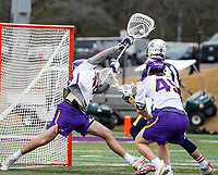 University at Albany Men's Lacrosse defeats Drexel 18-5 on Feb. 24 at Casey Stadium.  UAlbany goalkeeper Jaason Yoquinto (#48) makes a second half save. (Photo by Bruce Dudek / Cal Sport Media/Eclipse Sportswire)