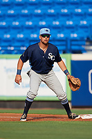 Charlotte Stone Crabs first baseman Nathaniel Lowe (36) during the first game of a doubleheader against the St. Lucie Mets on April 24, 2018 at First Data Field in Port St. Lucie, Florida.  St. Lucie defeated Charlotte 5-3.  (Mike Janes/Four Seam Images)