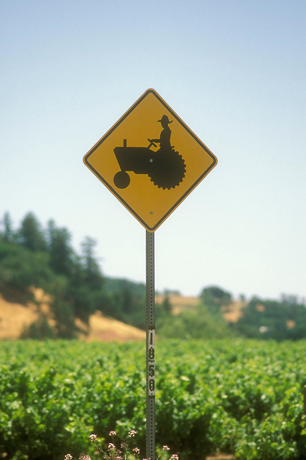 Sign along road in Napa Valley
