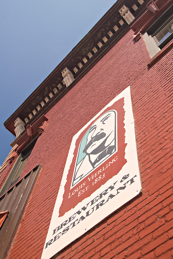 A sign for The Vierling Restaurant and Marquette Harbor Brewery in downtown Marquette Michigan.