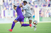 Orlando, FL - Sunday May 14, 2017: Camila, Taylor Smith during a regular season National Women's Soccer League (NWSL) match between the Orlando Pride and the North Carolina Courage at Orlando City Stadium.