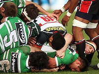 Manawatu's Francis Bryant (bottom right) is buried at the bottom of a collapsed maul during the Air NZ Cup rugby match between Manawatu Turbos and Counties-Manukau Steelers at FMG Stadium, Palmerston North, New Zealand on Sunday, 2 August 2009. Photo: Dave Lintott / lintottphoto.co.nz